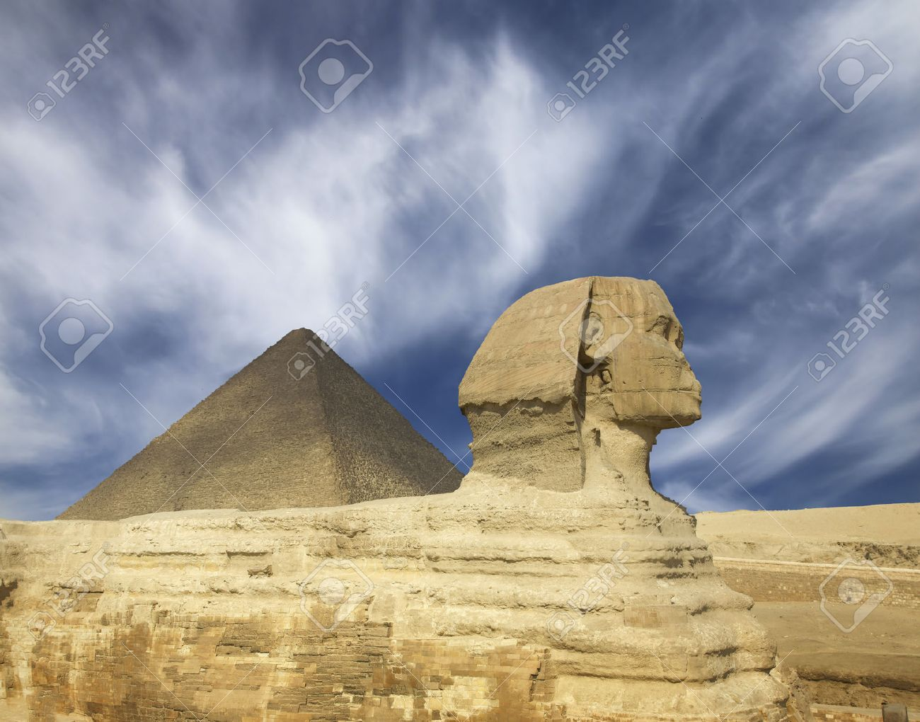 Famous ancient egypt Cheops pyramid and sphinx in Giza Cairo - 36490376