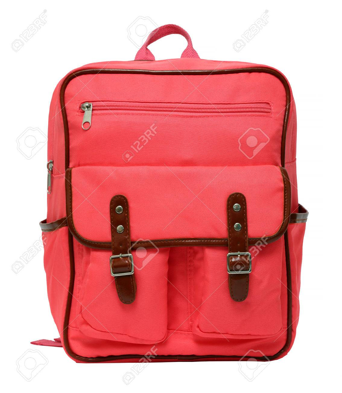 pink school backpack isolated on white background - 36490566