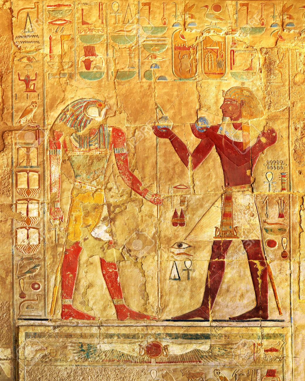 ancient egypt color images on wall in luxor - 37100322