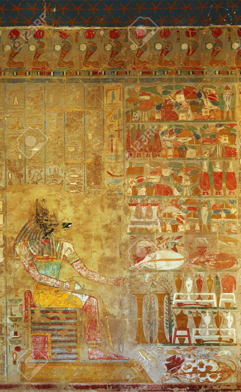 Ancient Egypt Color Image Of Anubis On Wall In Luxor Stock Photo ...