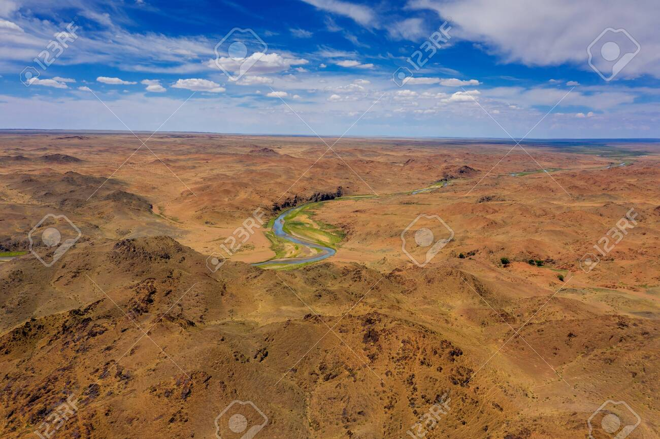 Aerial of river and mountains in Mongolia - 137722500