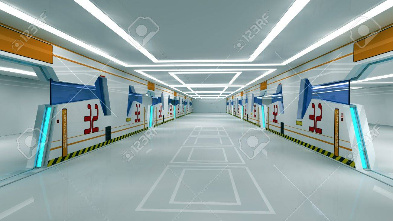 Futuristic corridor Stock Photo - 18809385
