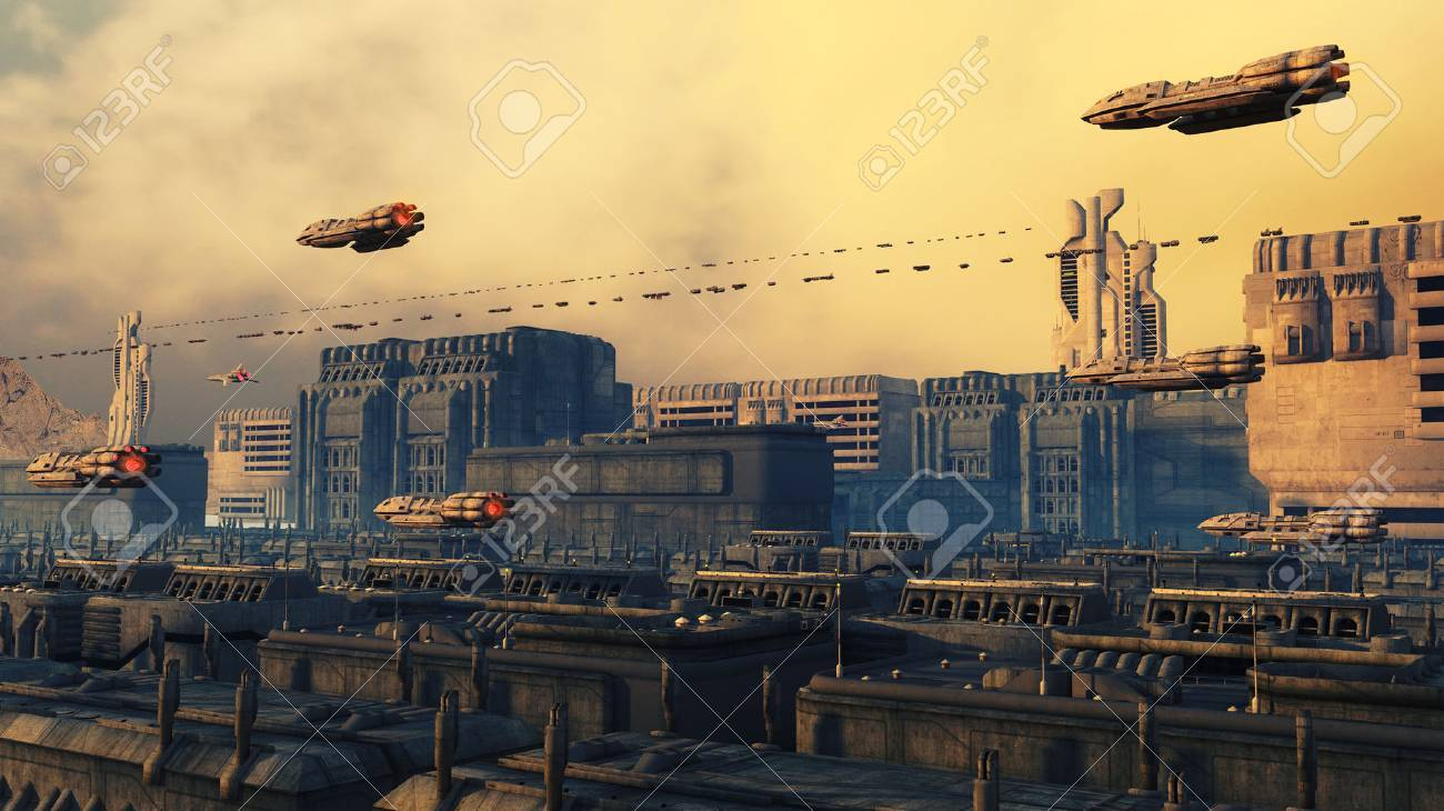 SCIFI city and ships Stock Photo - 34980721