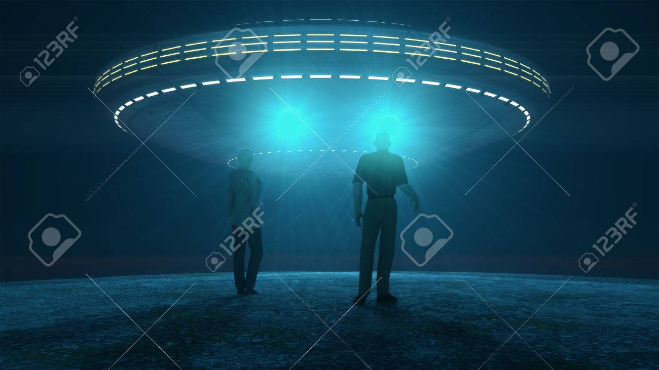 Ufo attacking and abducting Stock Photo - 39283291