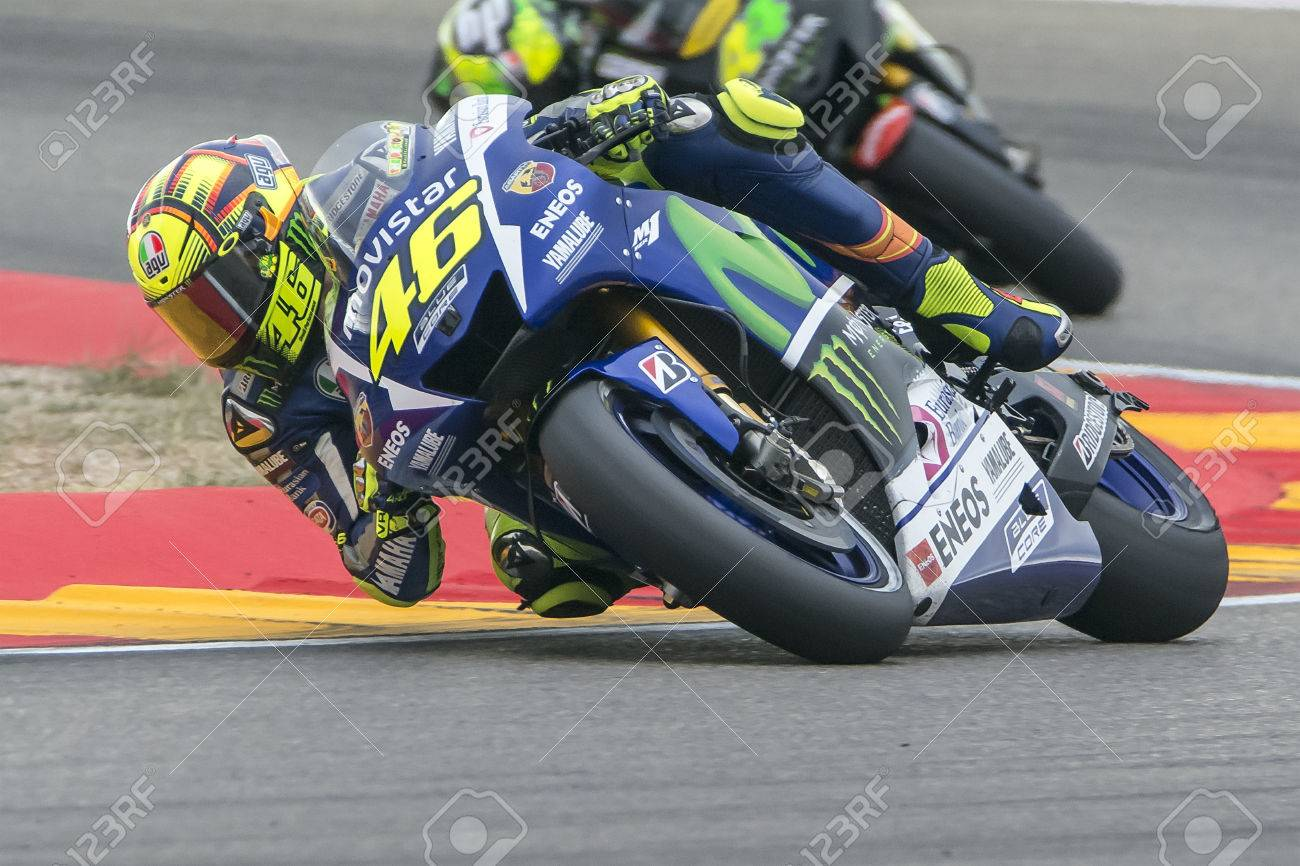Valentino ROSSI. Movistar Yamaha MotoGP. Grand Prix Movistar of Aragón of MotoGP. Aragon, Spain. 27th September 2015 Stock Photo - 45702350