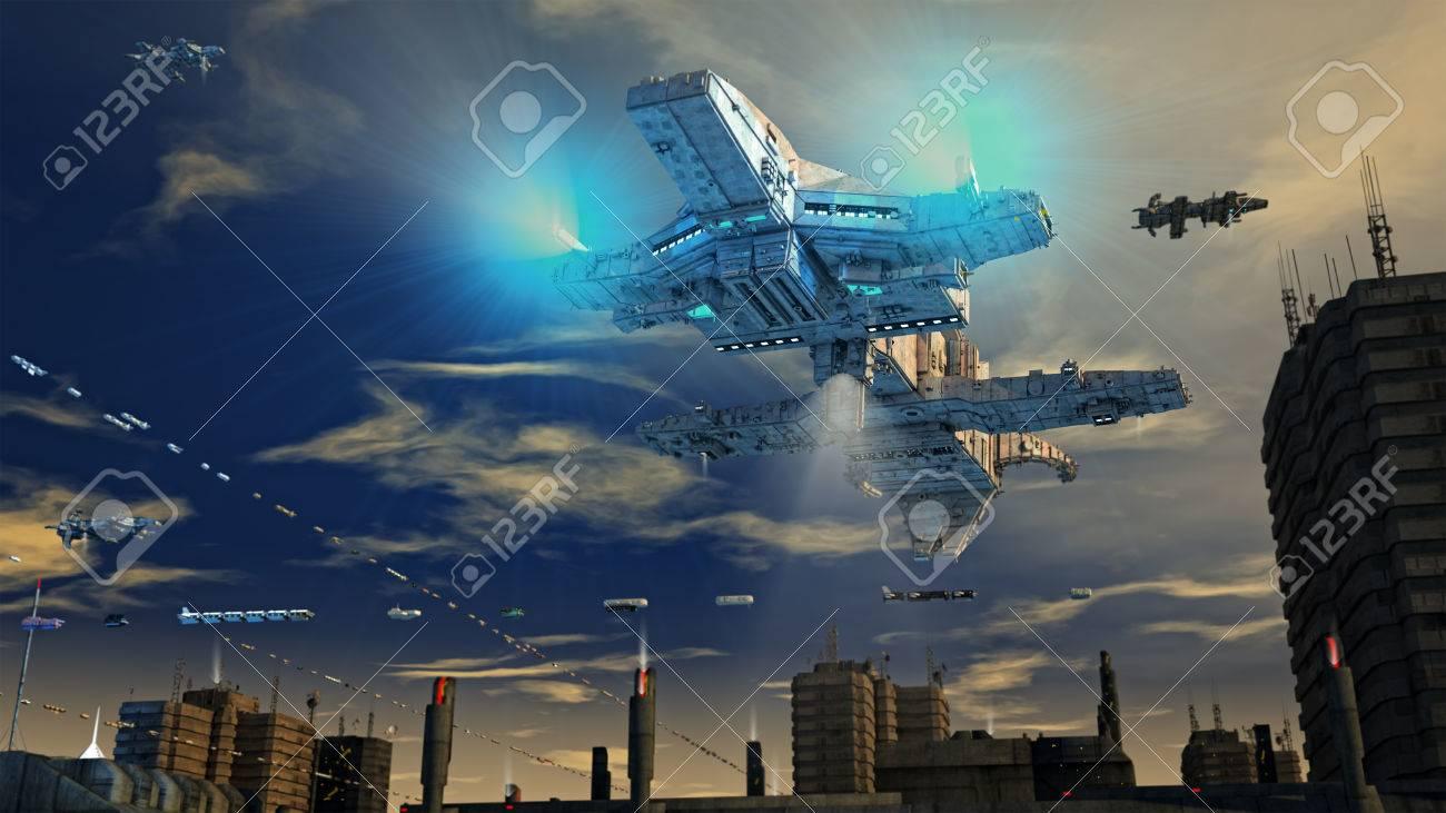 Spaceship UFO and city Stock Photo - 51334545