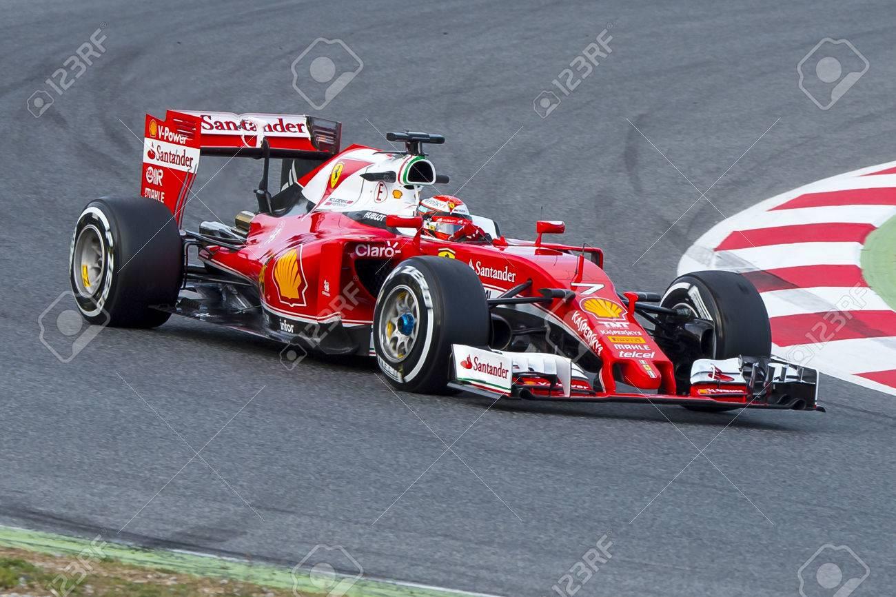 Driver Kimi Raikkonen. Team Ferrari  F1. Formula One Test Days at Circuit de Catalunya. Montmelo, Spain. March 1, 2016 Stock Photo - 53642077