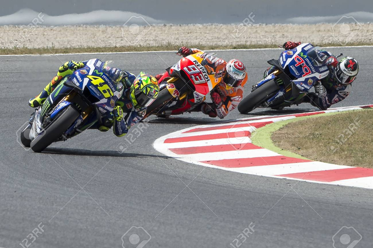 9685c778f2ce6 Drivers Valentino Rossi, Marquez and Lorenzo. Monster Energy Grand Prix of  Catalonia MotoGP at