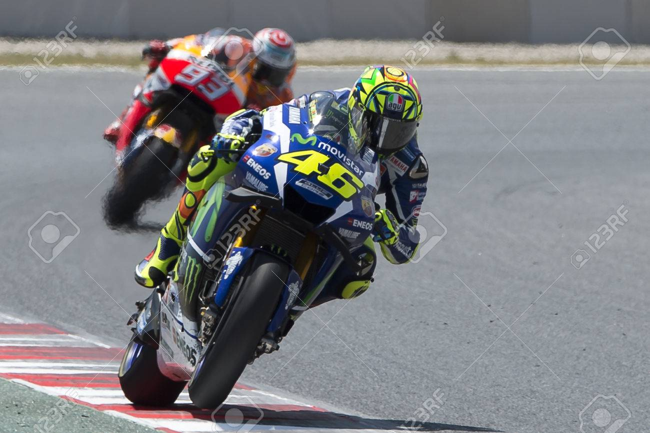 35a1953faf962 Drivers Valentino Rossi and Marc Marquez. Monster Energy Grand Prix of  Catalonia MotoGP at Circuit