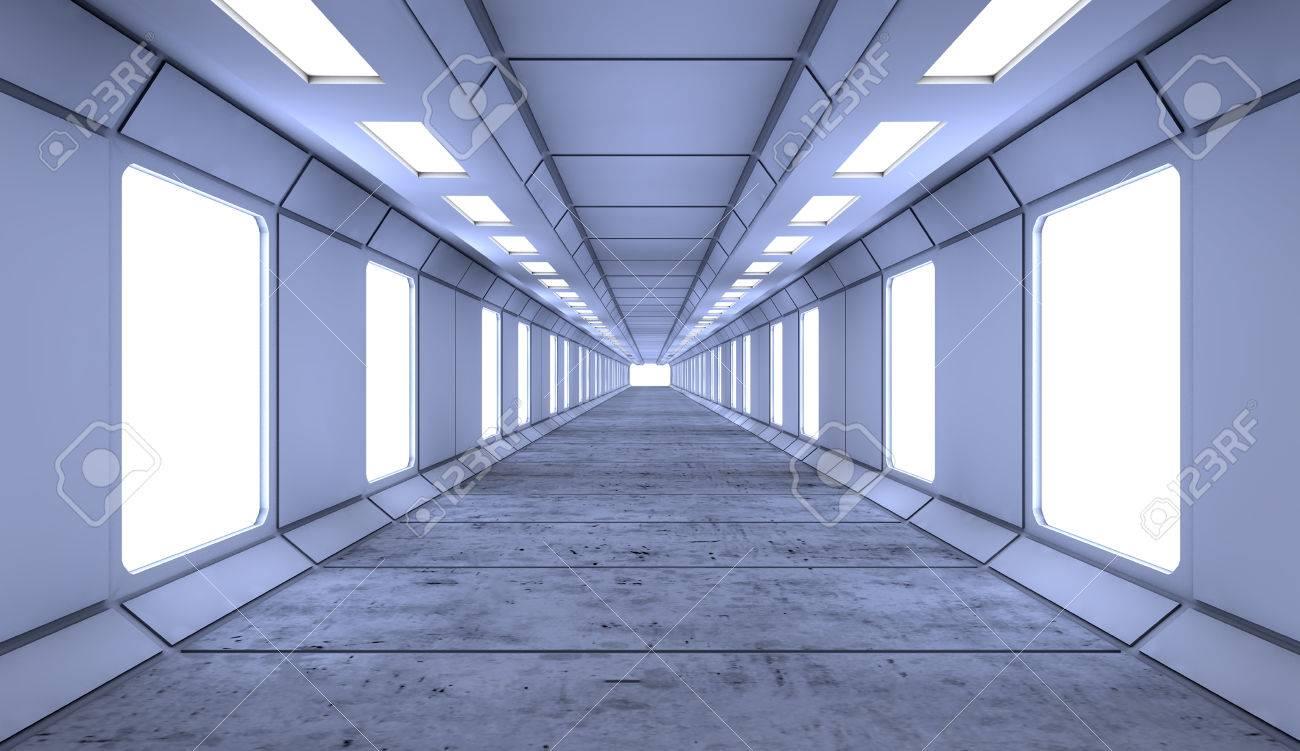 3d Render Interior Futuristic Hallway Interior Design Concept