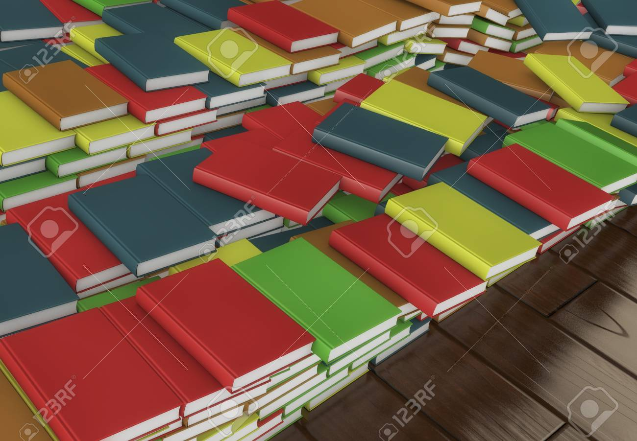 3d Render. Many Stacked Colored Books Stock Photo, Picture And ...