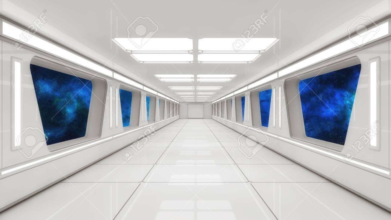 3D rendering  Futuristic spaceship interior corridor