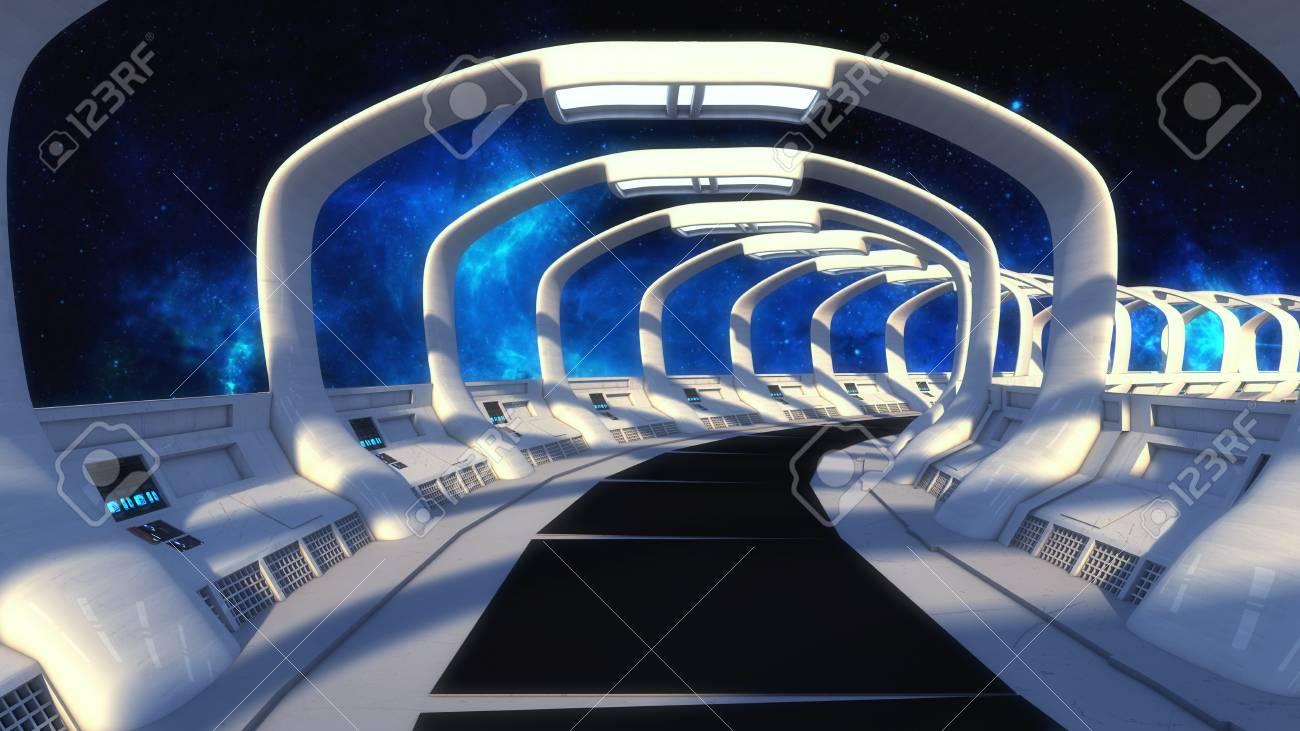 3D rendering. Futuristic spaceship interior corridor - 92154964