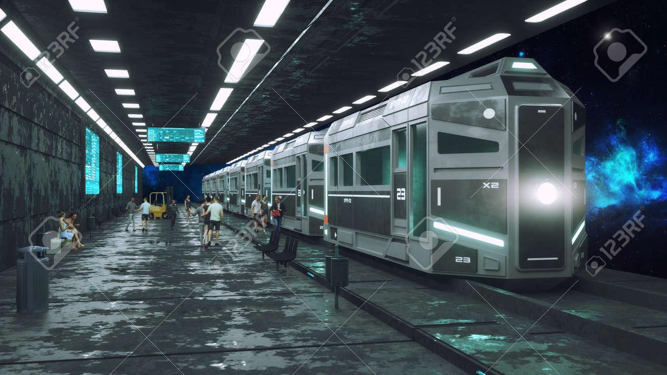 3d render. Futuristic space train concept - 169495064