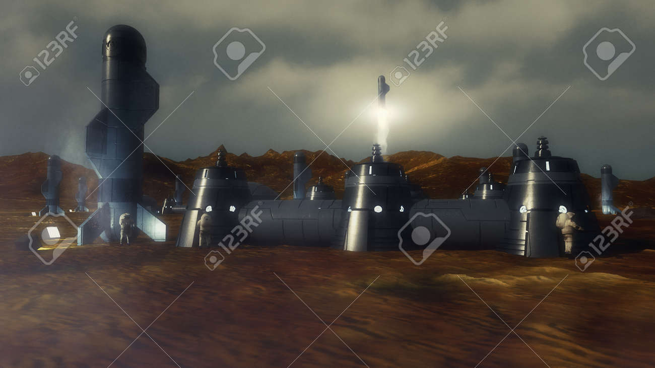 3d render. Colony of humans on a planet - 169495065