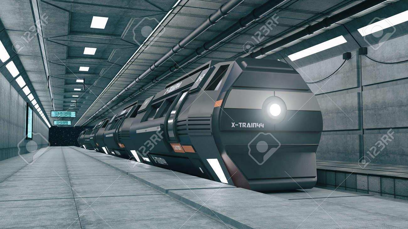 3d render. Futuristic space train concept - 170535112