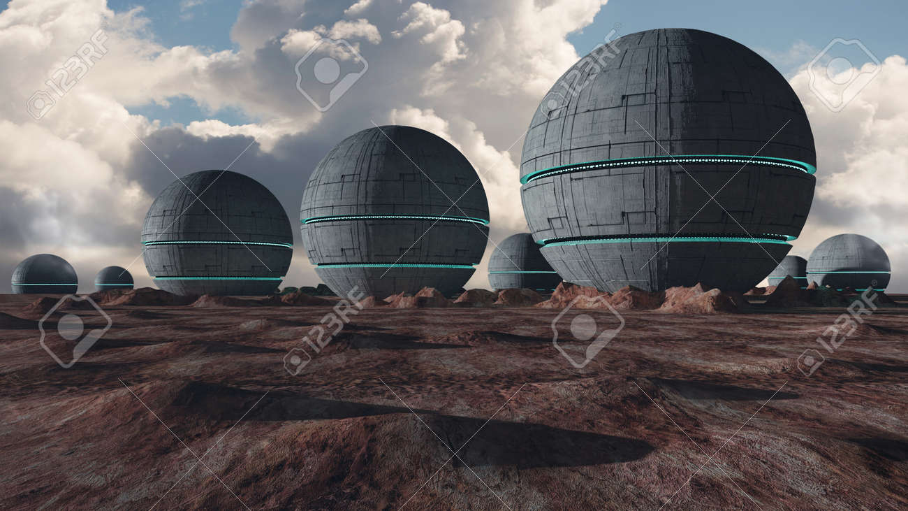 3d render. Colony of humans on a planet - 171318499