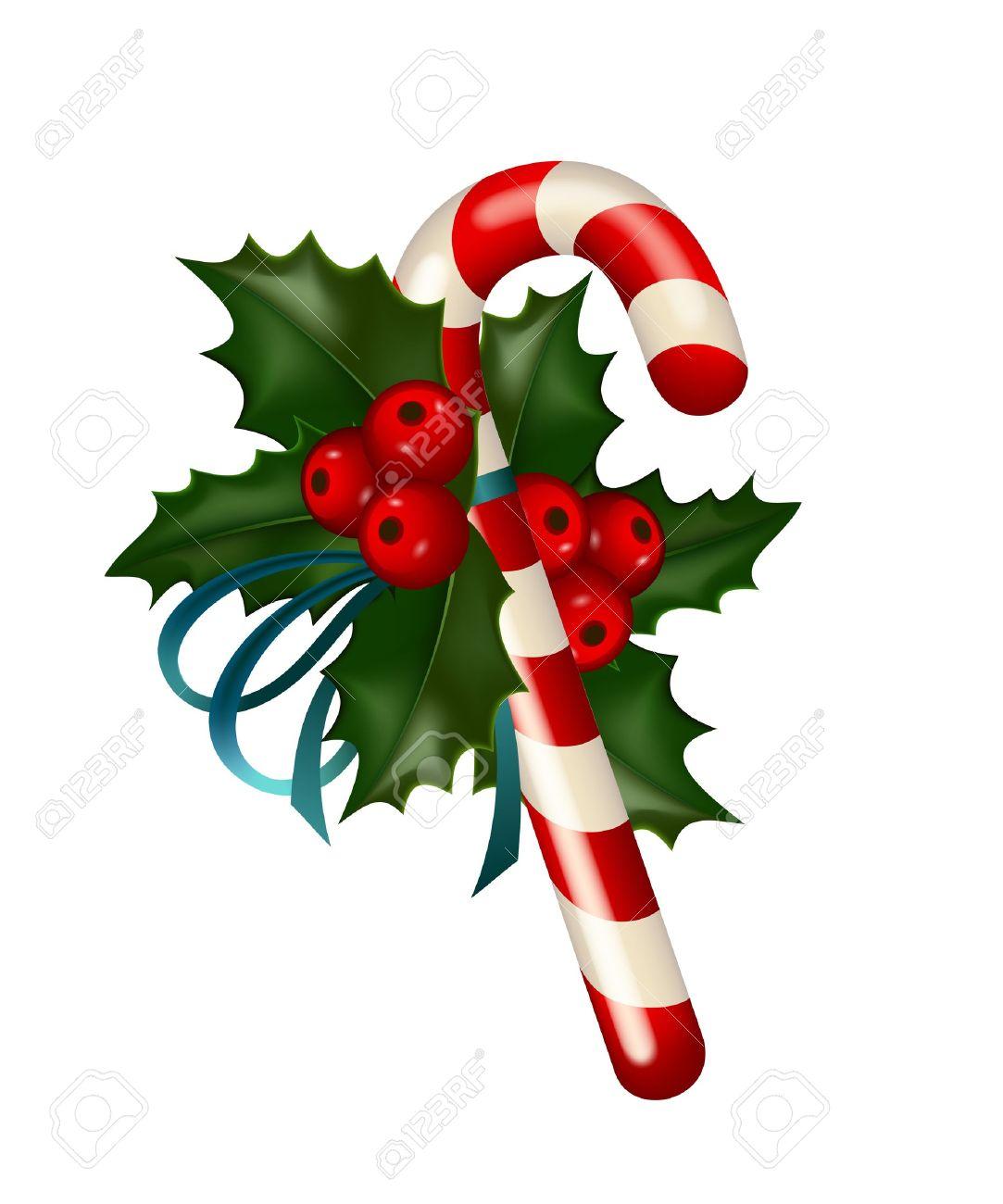 Weihnachten Kandiszucker Mit Stechpalmen Geschmückt Auf Weißem ...