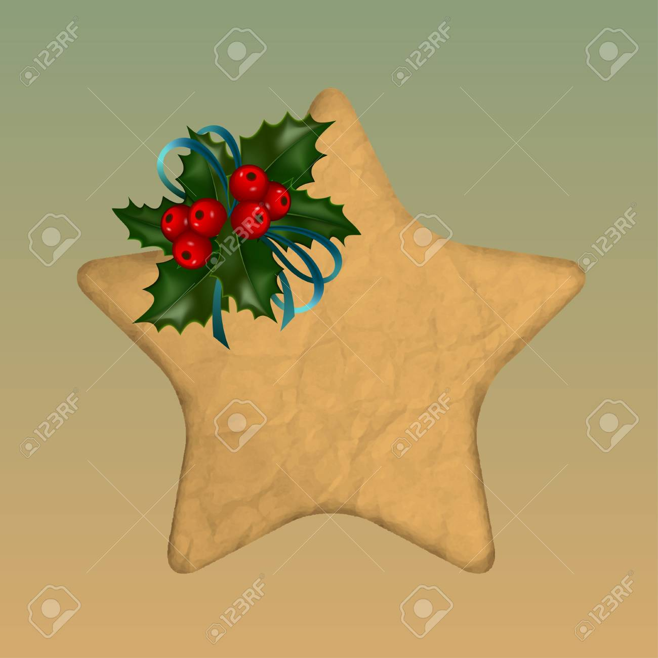 paper star decorated with holly Stock Vector - 10787509