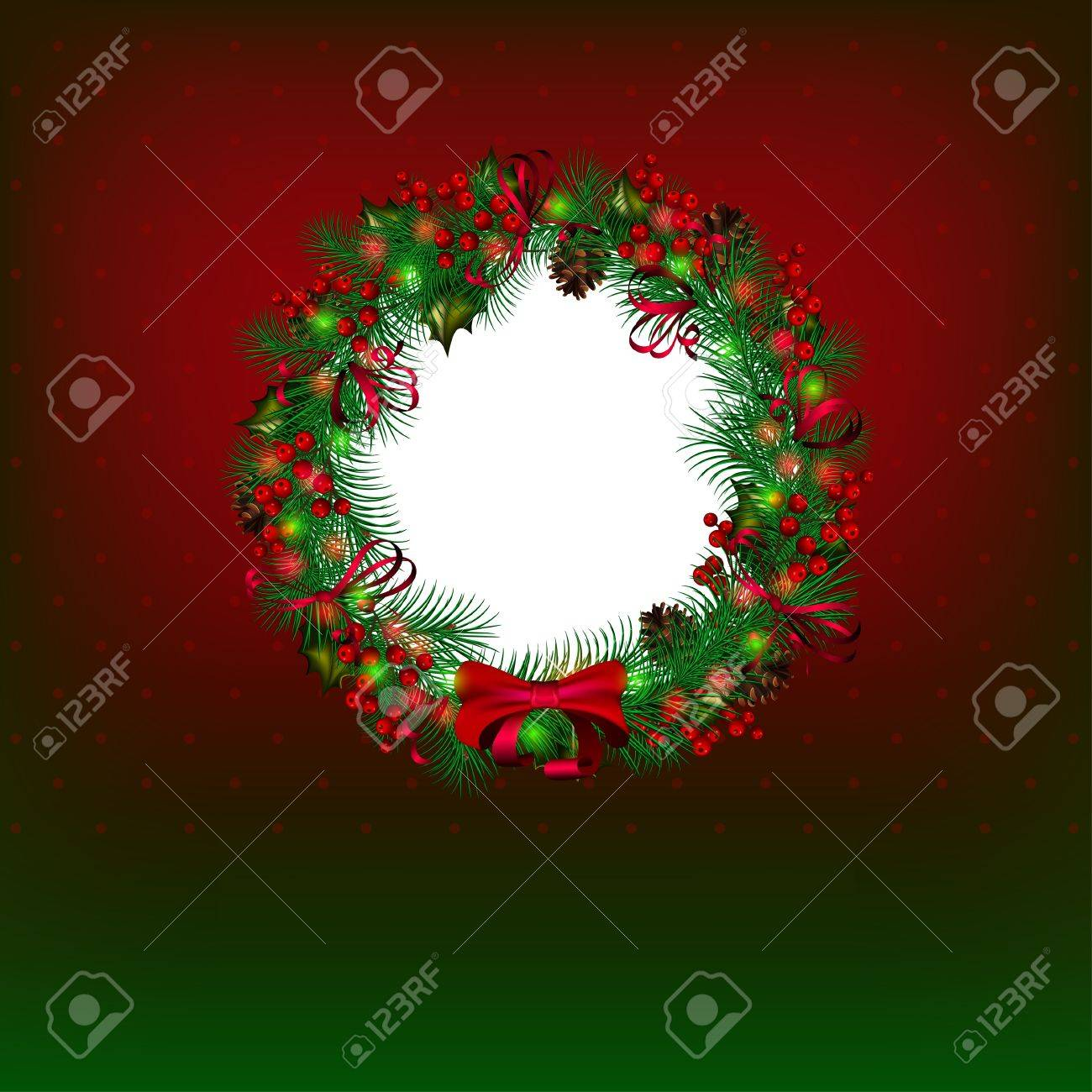 Bright vector Christmas background with christmas wreath Stock Vector - 11272415