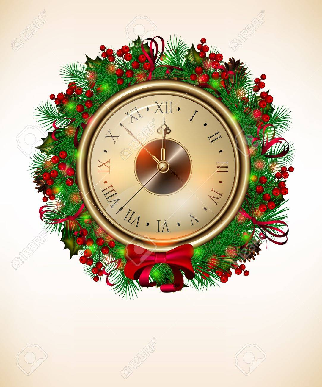 bright vector christmas background with clock and christmas wreath