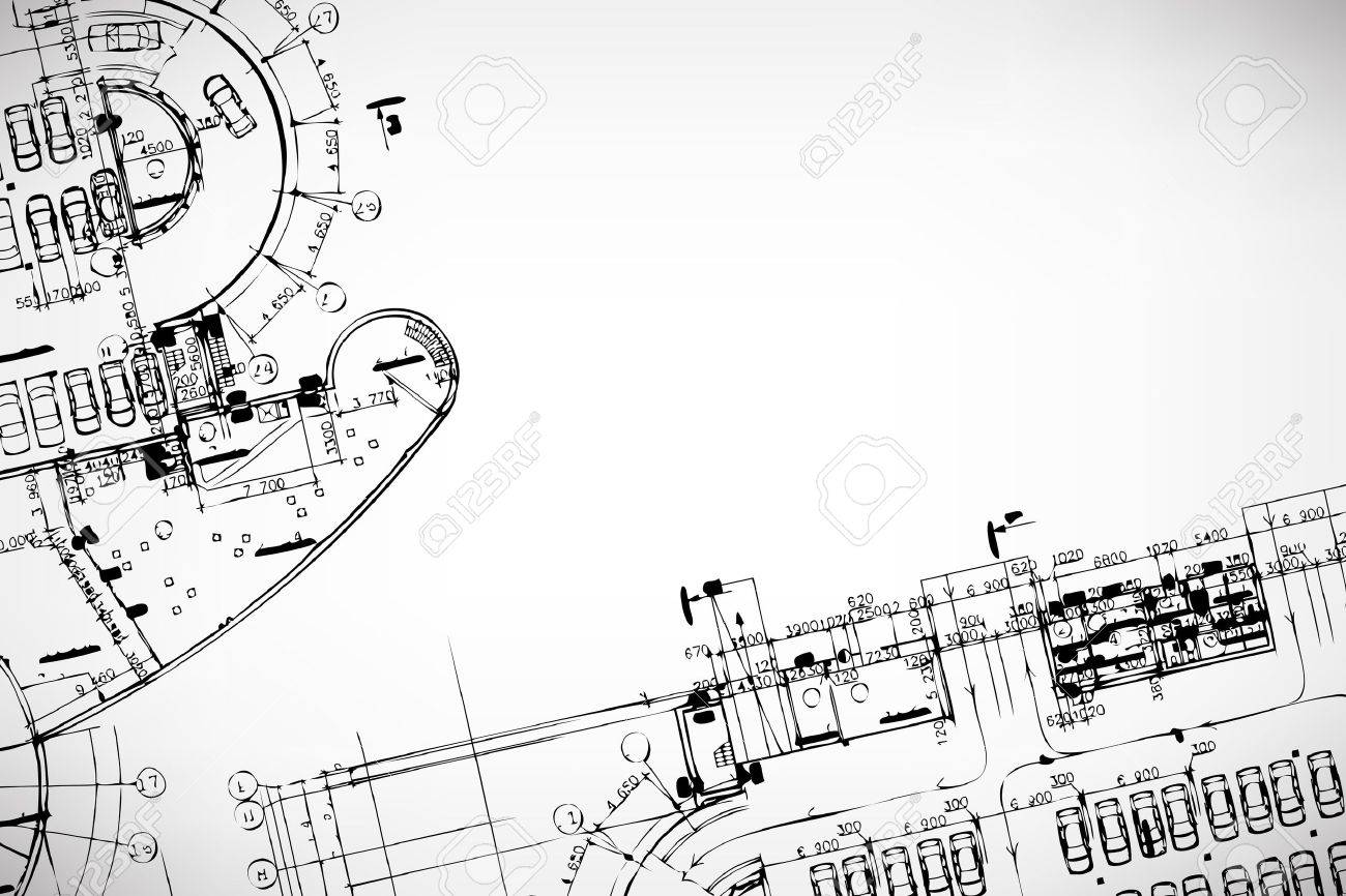 Architectural Drawing Grey Abstract Background Architectural Theme Working Drawings Illustration