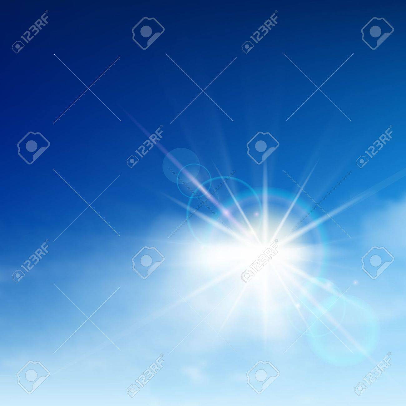 Bright blue sky with easy clouds and solar patch of light Stock Vector - 12495984