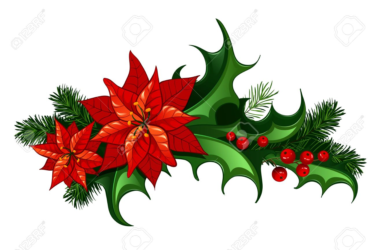 Christmas Leaves.Christmas Traditional Decor With Leaves And Berries Of Holly