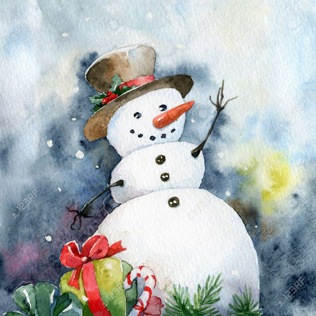 Bright Christmas Card Cheerful Snowman Watercolor Illustrations