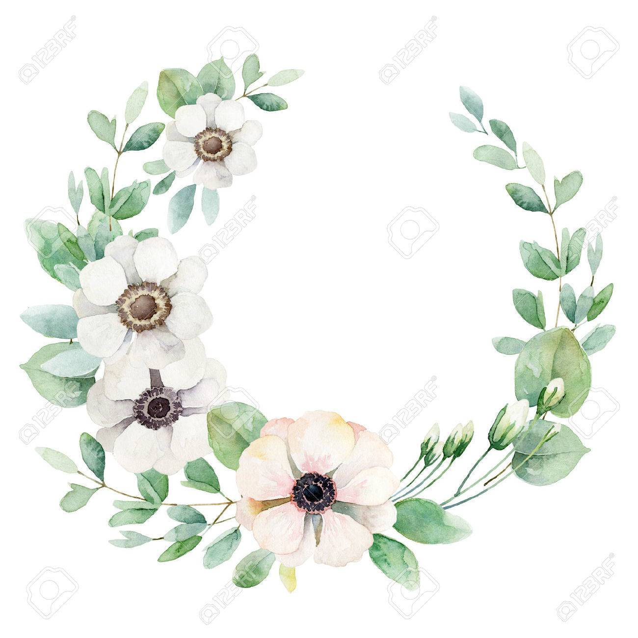 Round composition with white and pink anemones isolated on white background. Watercolor illustration - 57501532