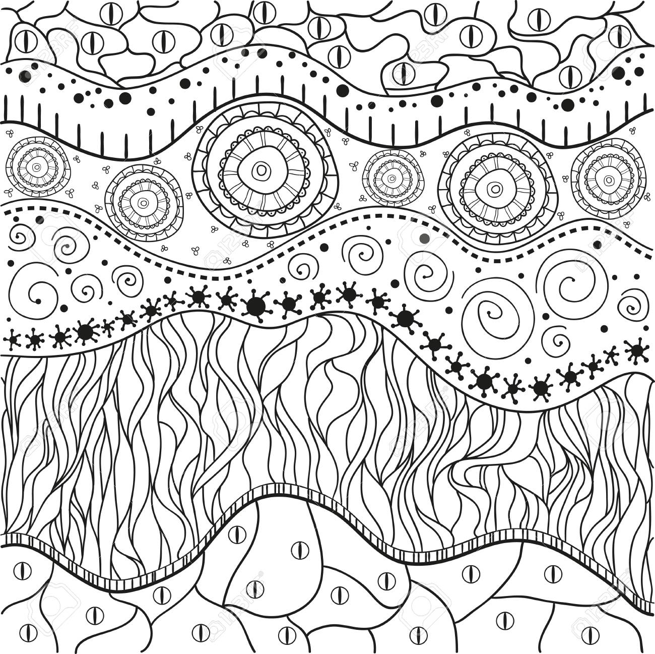 abstract eastern pattern zentangle hand drawn isolated texture