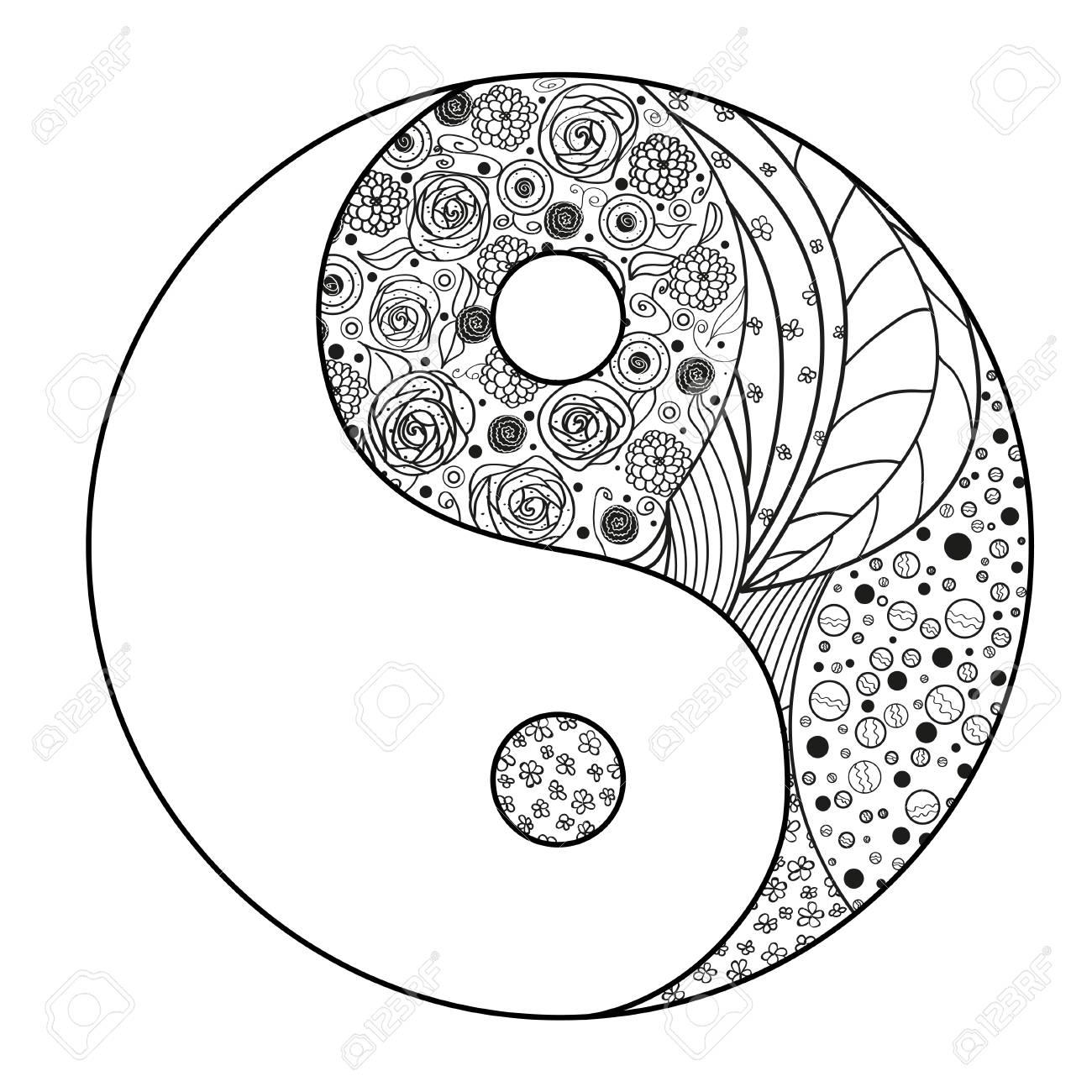 Yin Und Yang. Zentangle. Hand Gezeichnete Mandala Auf ...