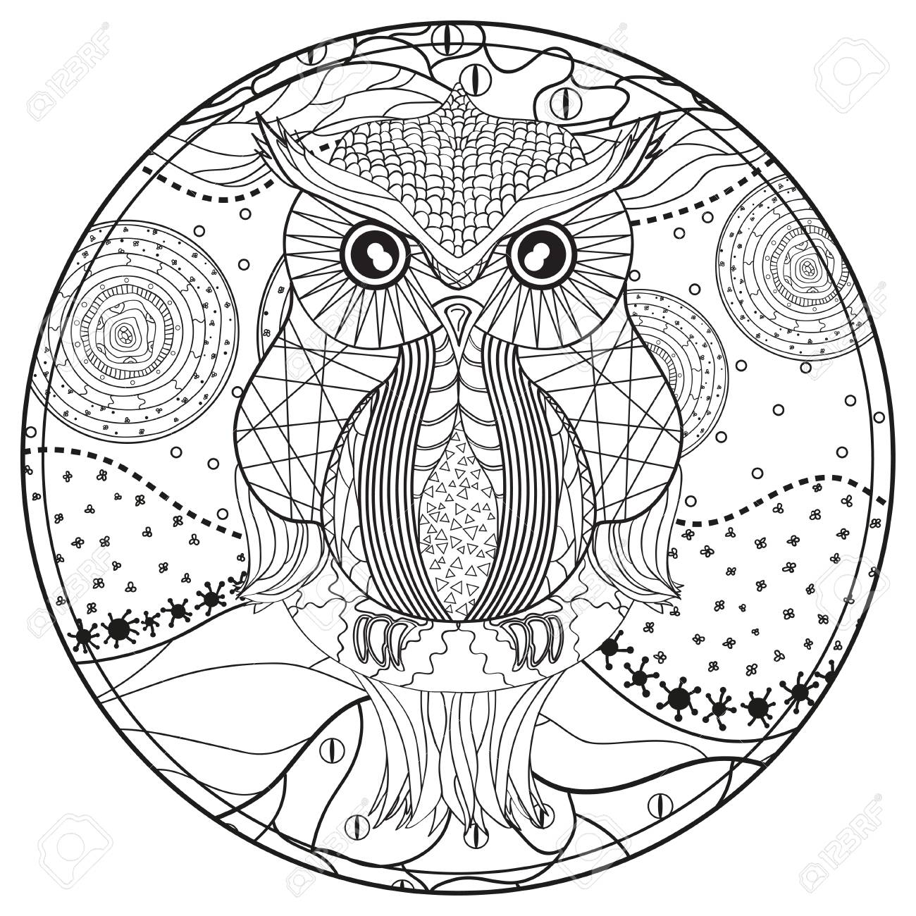 Mandala With Owl Design Zentangle Hand Drawn Abstract Patterns