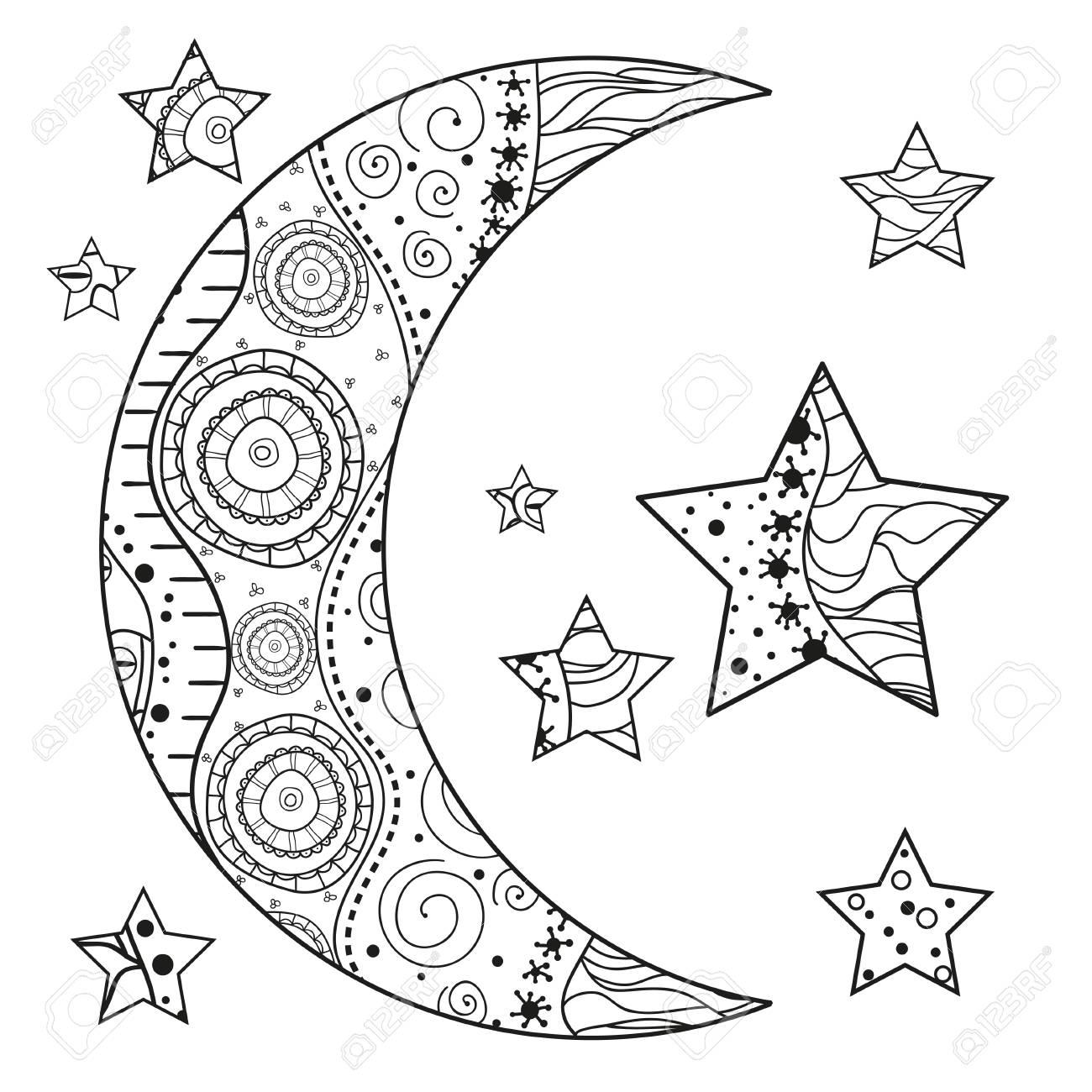 Zentangle Mond Und Stern Mit Abstrakten Mustern Auf Isolation ...