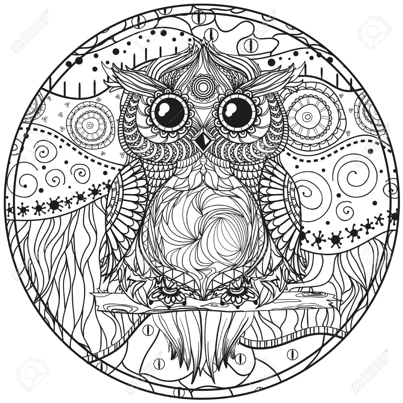 Mandala Con El Búho Diseño Zentangle Dibujado A Mano Patrones Abstractos En El Aislamiento De Fondo Diseño Para La Relajación Espiritual Para