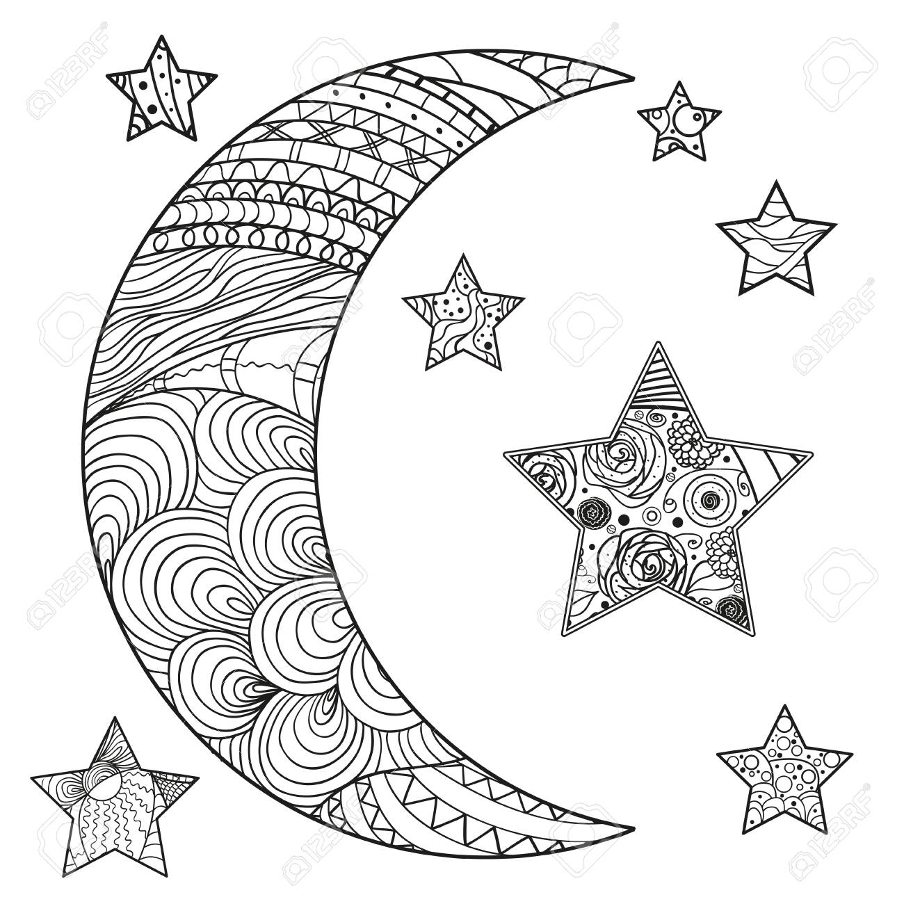 Zentangle moon and star with abstract patterns on isolation background