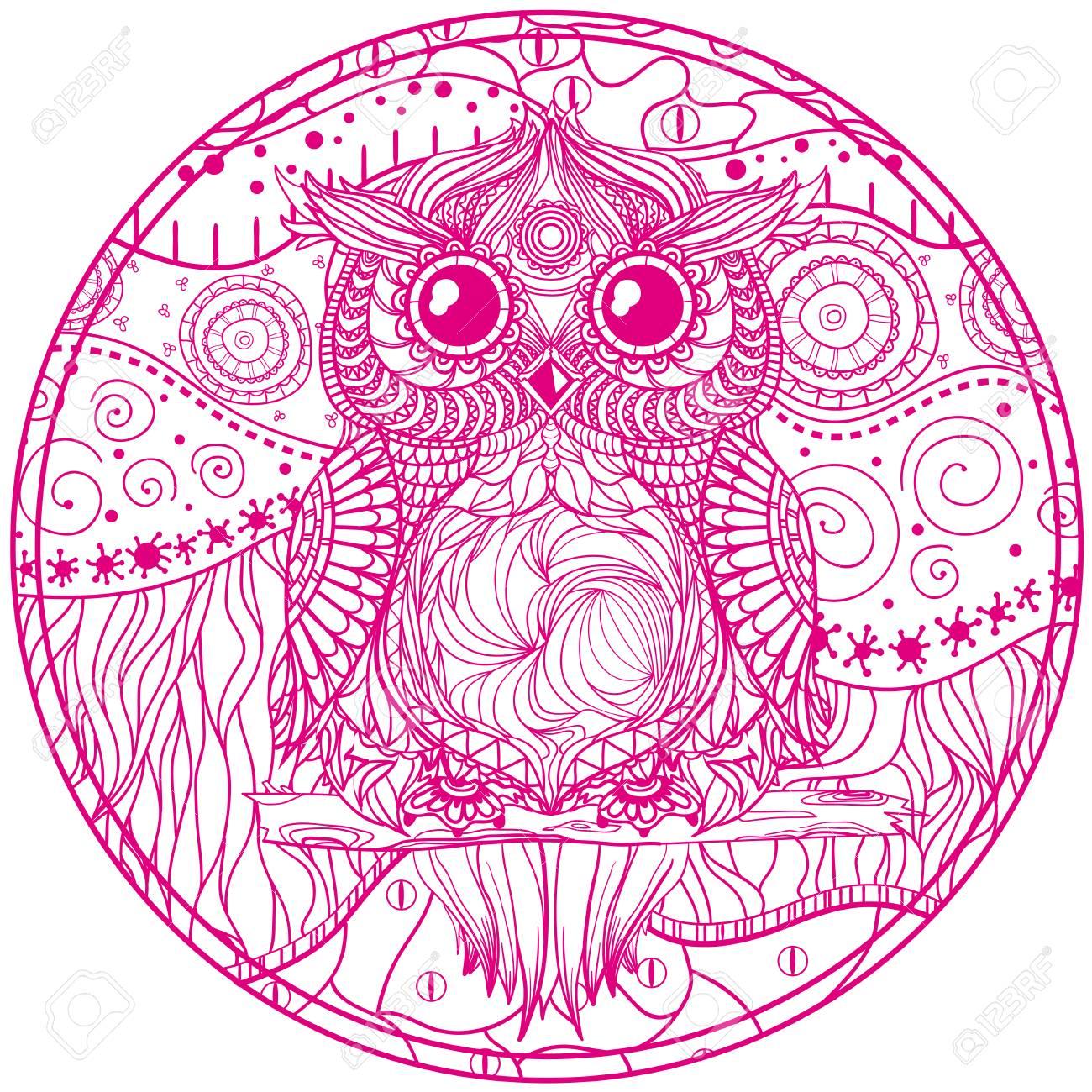 Mandala with owl design zentangle hand drawn abstract patterns mandala with owl design zentangle hand drawn abstract patterns on isolation background design biocorpaavc Choice Image