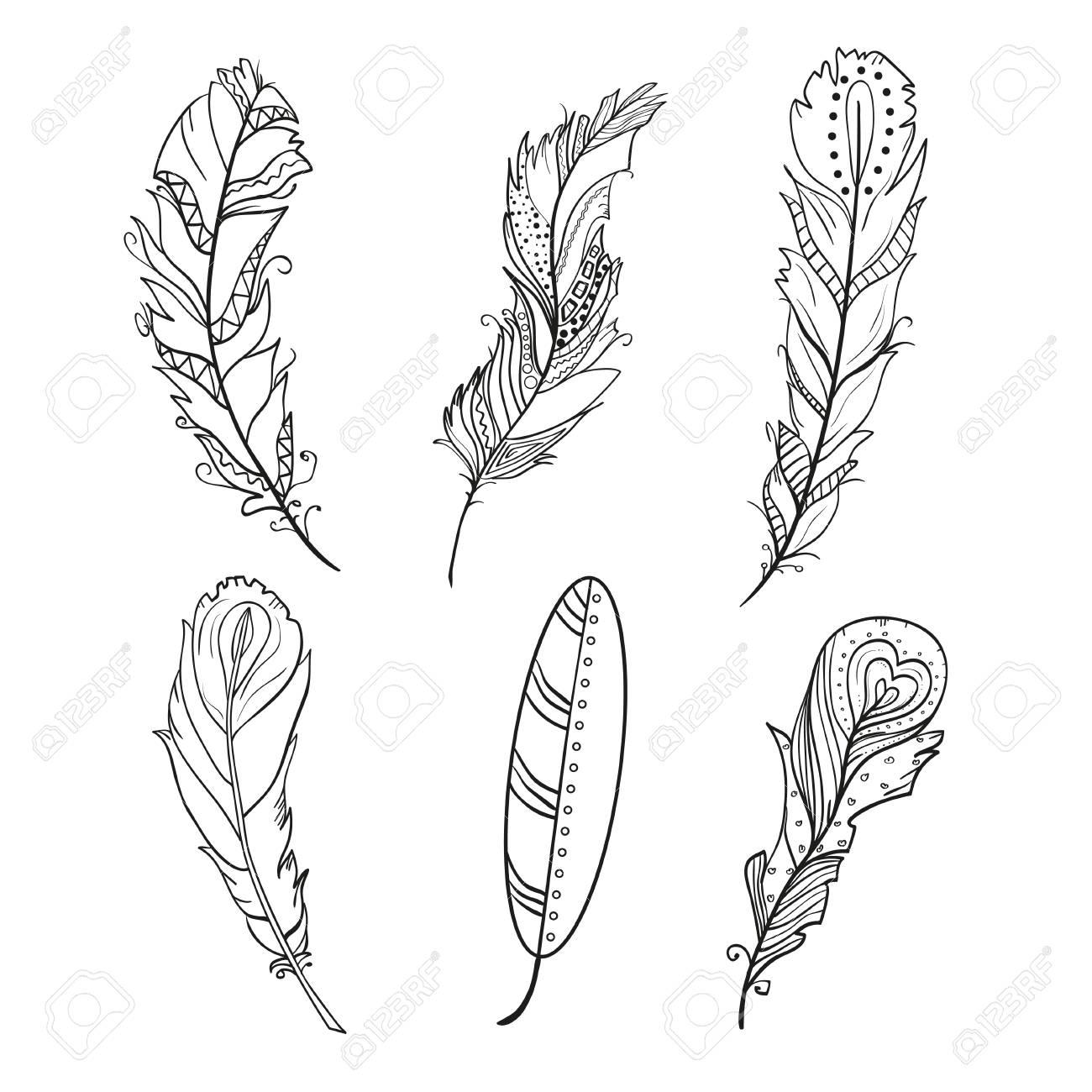 Plumas Diseño Plumas Dibujadas A Mano Con Patrones En El Fondo De Aislamiento Diseño Para La Relajación Espiritual Para Adultos Ilustración En