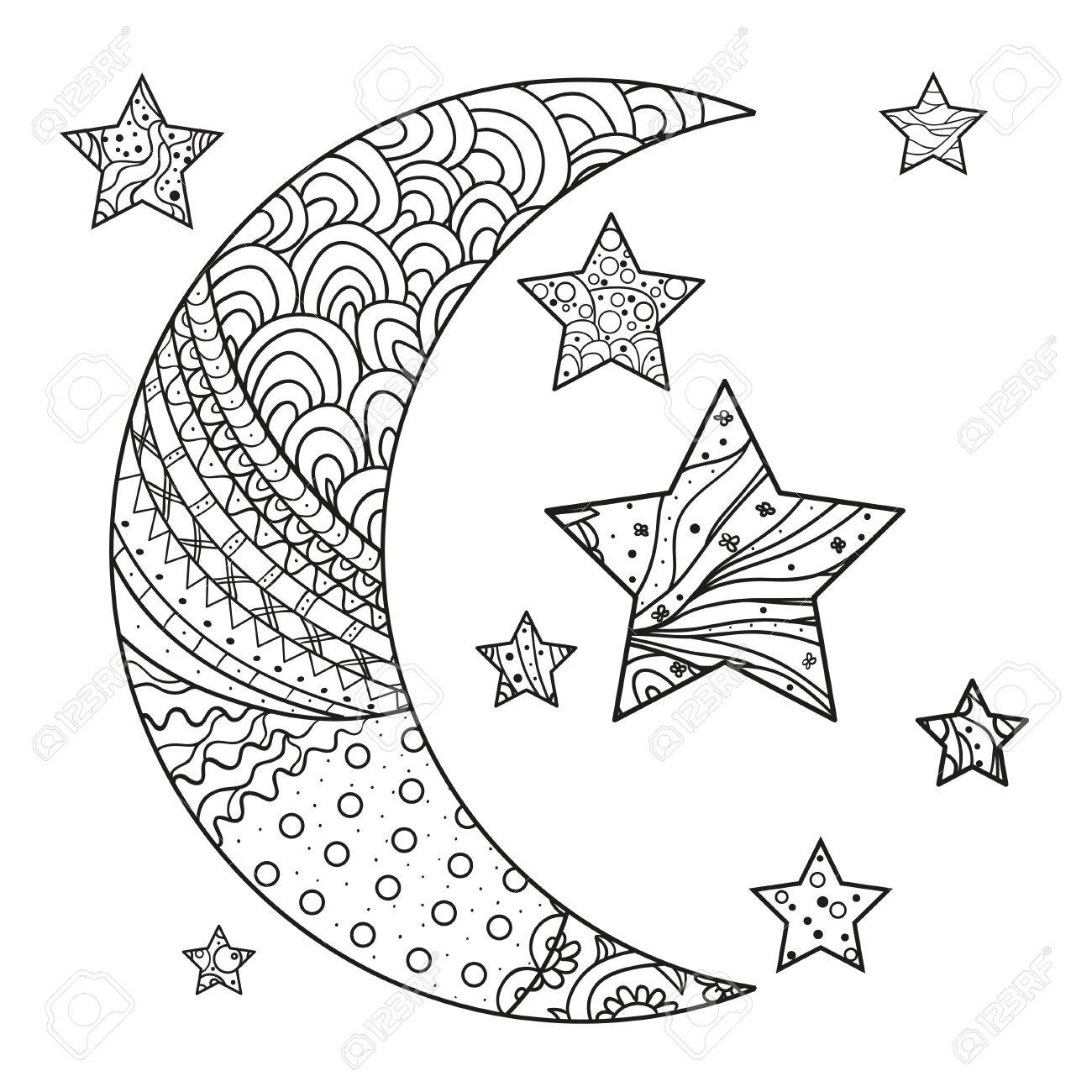 Illustration For Anti Stress Coloring Page Moon And Star With Abstract Patterns On Isolation Background Design Spiritual Relaxation Adults