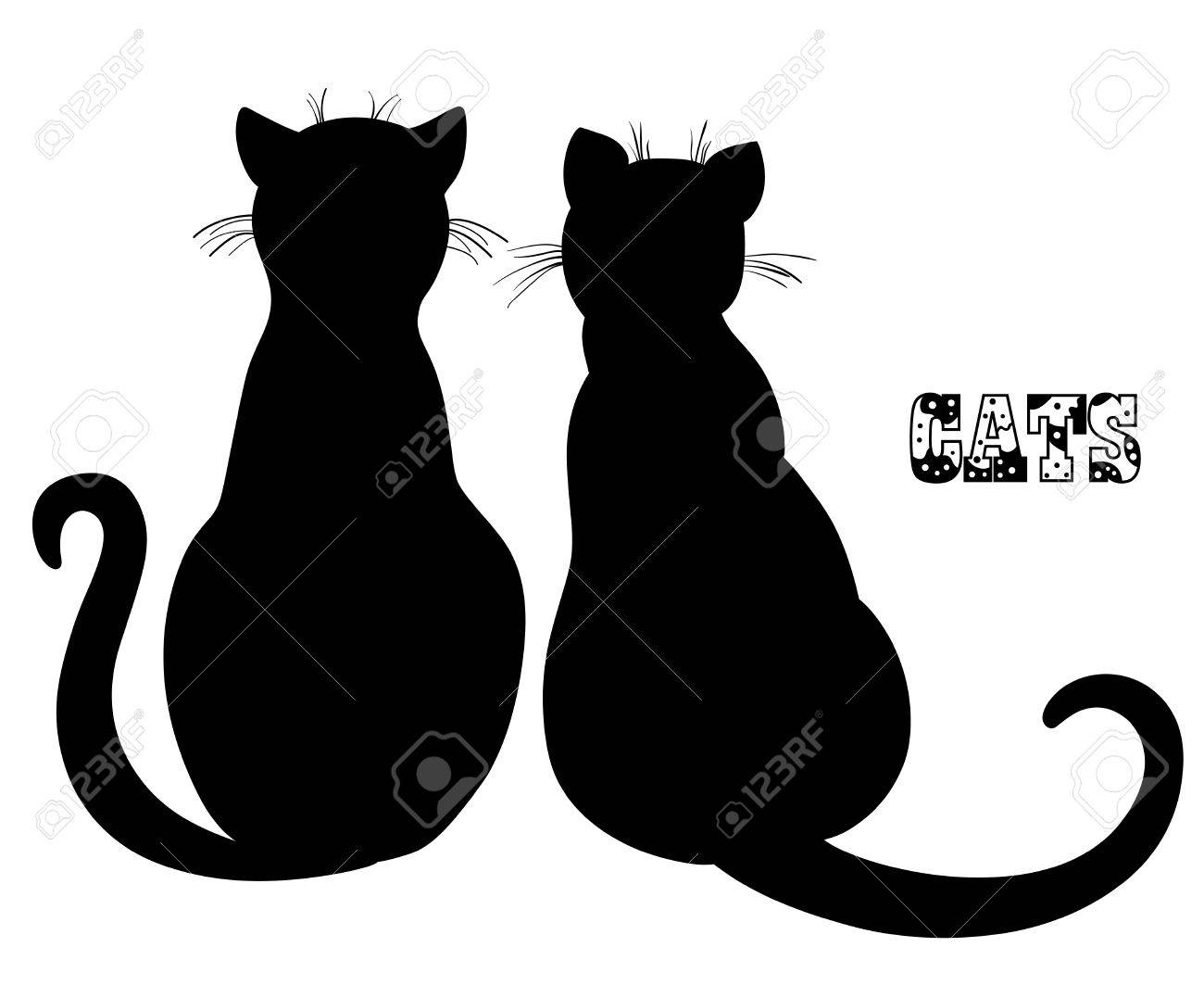 Gato Silueta Dibujado A Mano Los Gatos En El Fondo De Aislamiento