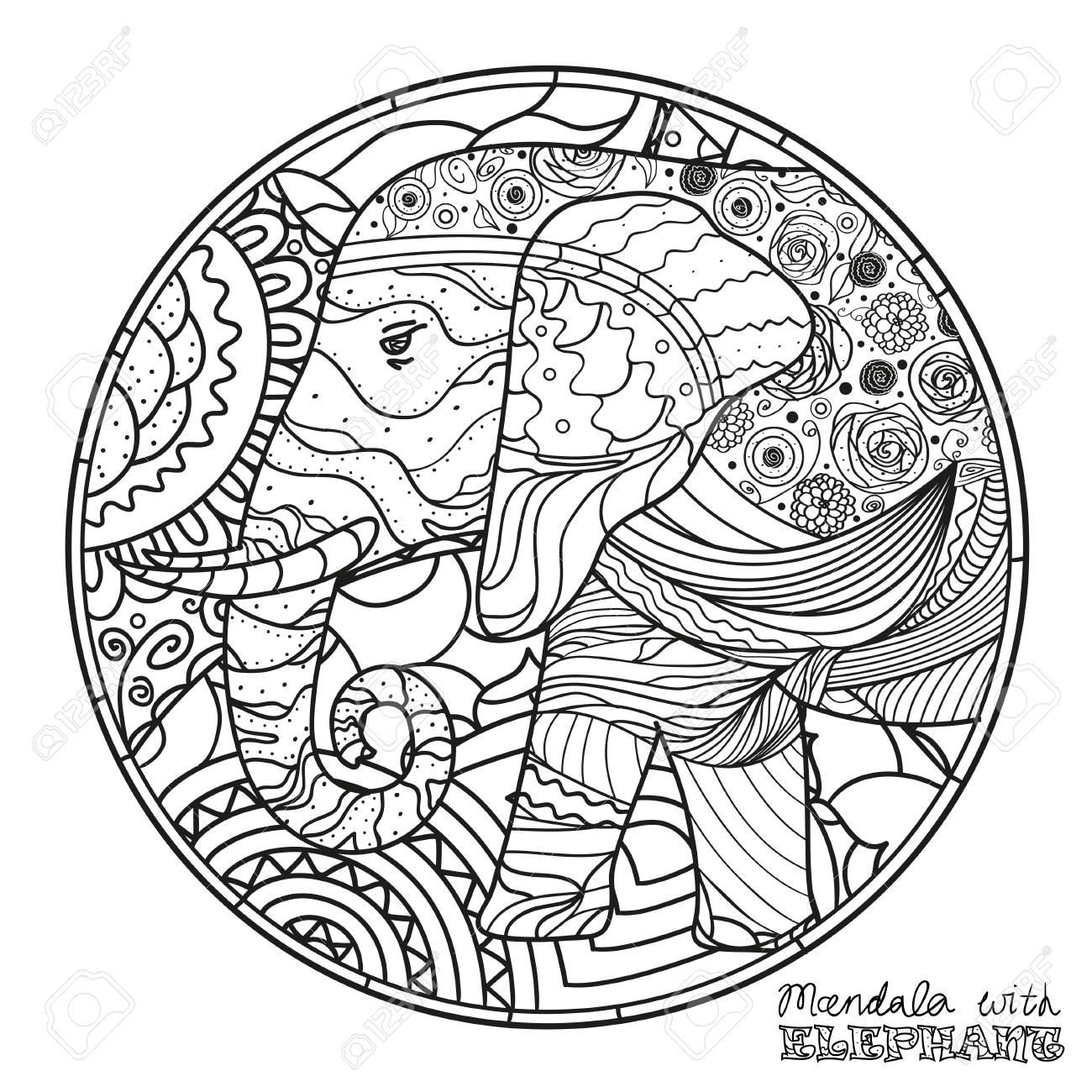 Elefant Zen Kunst Ausfuhrliche Hand Gezeichnete Mandala Mit