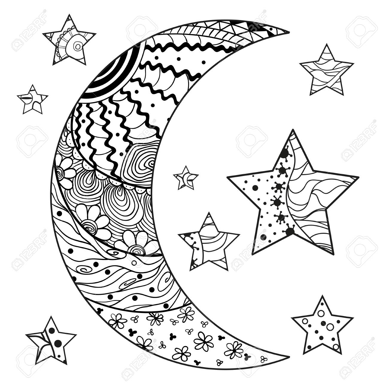 Moon And Star With Abstract Patterns On Isolation Background