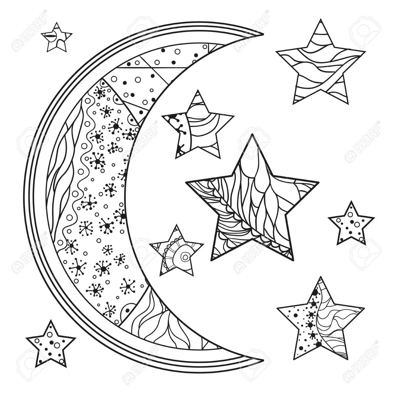 Mond Und Stern Mit Abstrakten Mustern Auf Isolationshintergrund ...