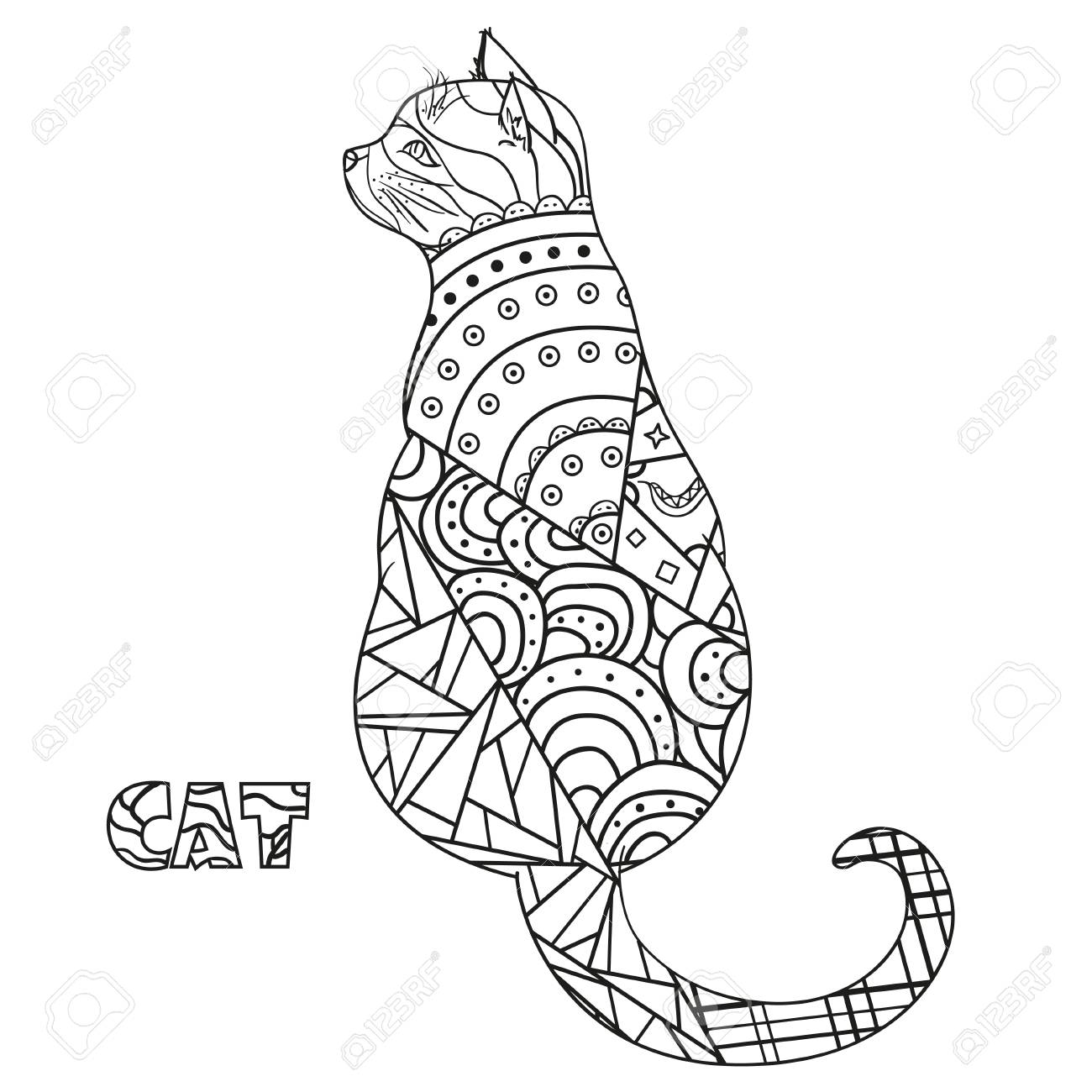 Gato. Zentangle. Gato Dibujado A Mano Con Patrones Abstractos Sobre ...