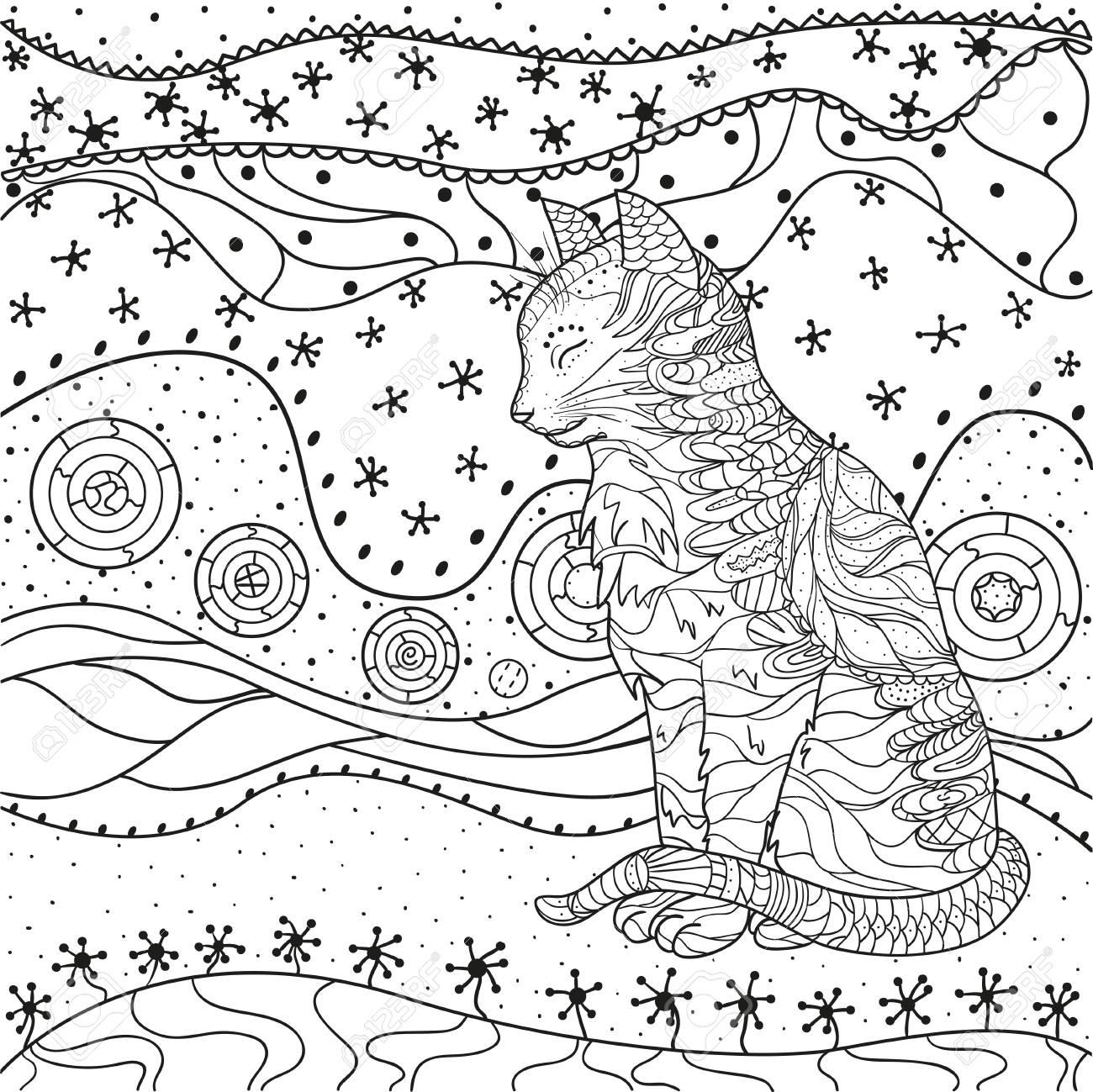 Mandala Avec Des Chats Zentangle Chat Dessine Main Avec Des Motifs Abstraits Sur Fond D Isolement Concevoir Pour La Relaxation Spirituelle Pour Les Adultes Illustration En Noir Et Blanc A Colorier Apercu Pour