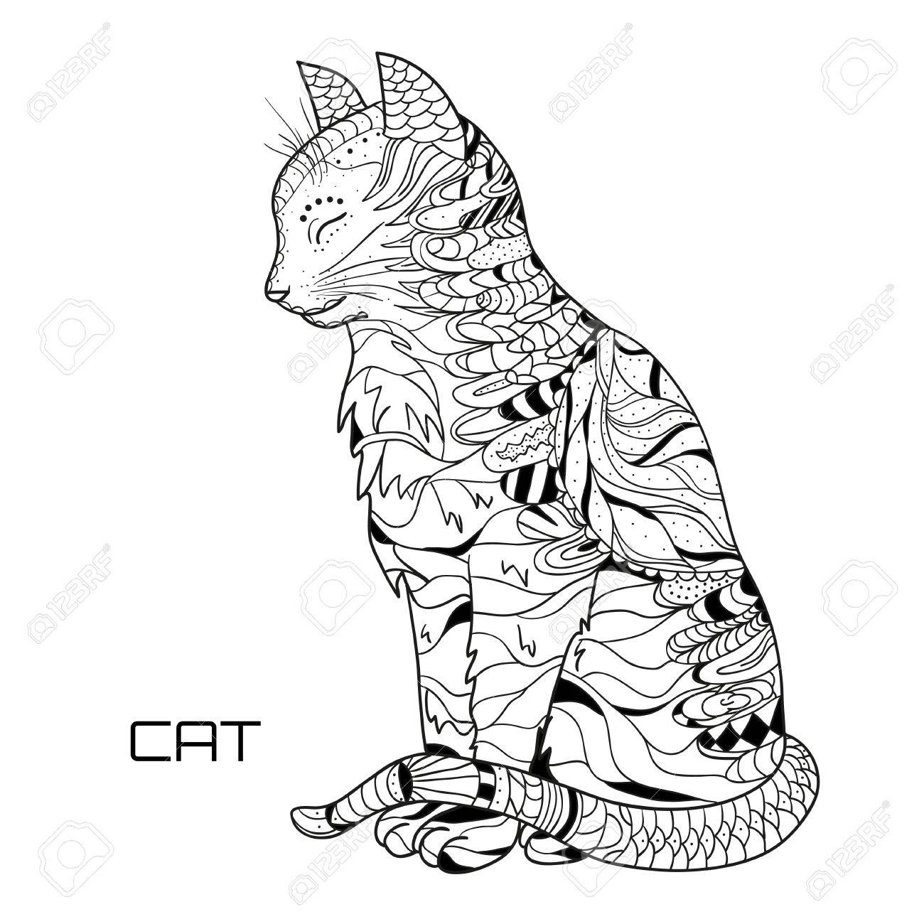 Cat. Zentangle. Hand drawn cat with abstract patterns on isolation background. Design for spiritual relaxation for adults. Black and white illustration for coloring. Zen art. Outline for t-shirts - 84624025