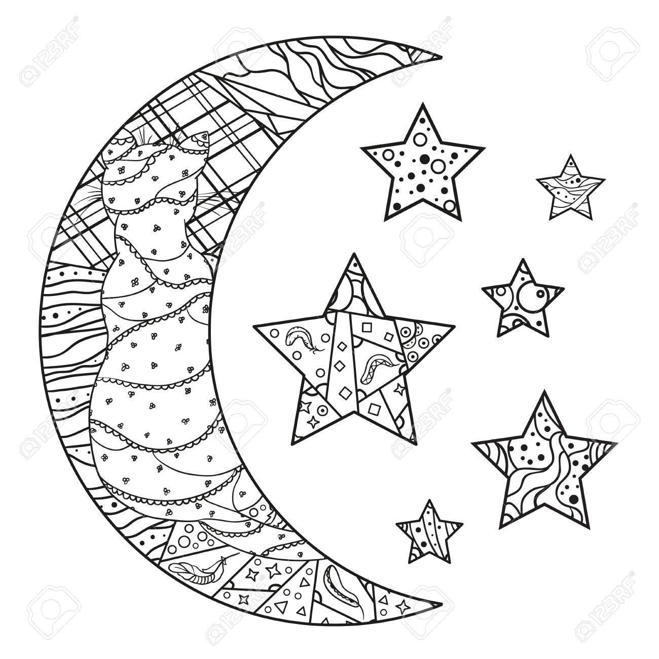 Luna Y Estrellas Con Patrones Abstractos Sobre Fondo De Aislamiento Diseño Para La Relajación Espiritual Para Adultos Creación De Líneas