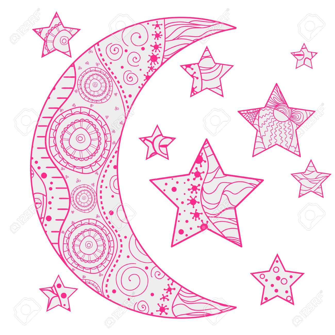 Mond Und Sterne Mit Abstrakten Mustern Auf Isolationshintergrund ...