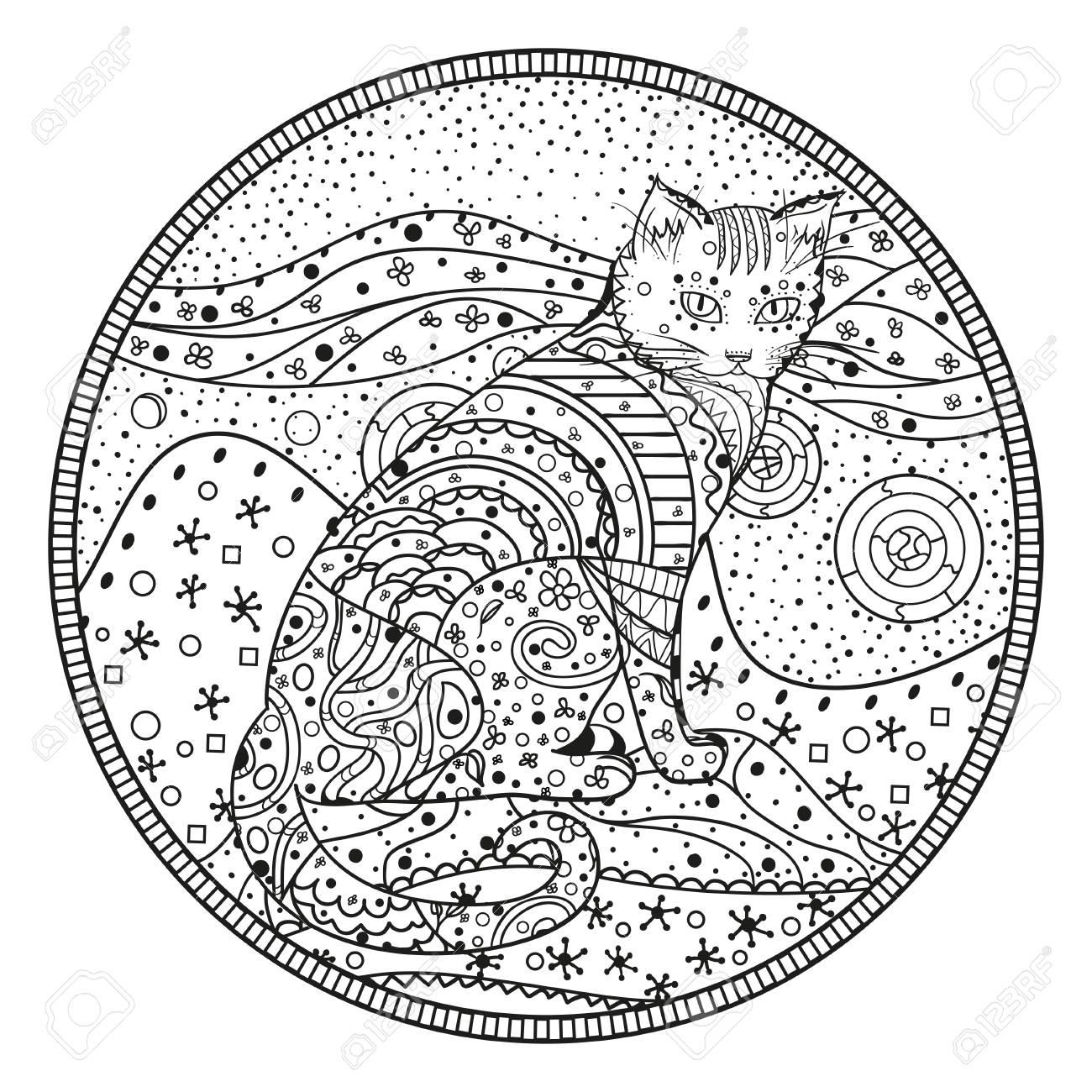 Mandala Dessine Avec Des Motifs De Chat Abstraite Isoles Sur Fond