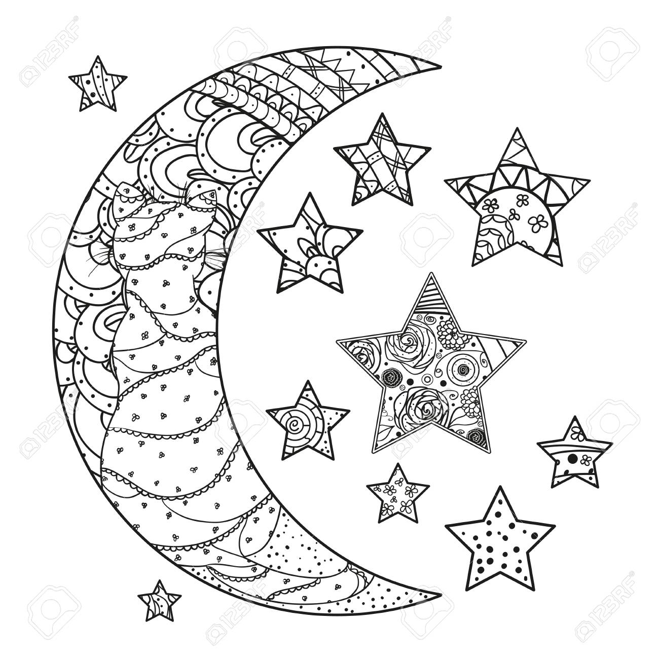 Half moon and stars with abstract patterns isolated on white half moon and stars with abstract patterns isolated on white background stock vector 85774327 biocorpaavc